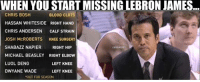 The Miami Heat will likely MISS the NBA playoffs. #WheresLeBron  #Heat Nation: WHEN YOU START MISSING LEBRON JAMES...  CHRIS BOSH  BLOOD CLOTS  HASSAN WHITESIDE RIGHT HAND  CHRIS ANDERSEN  CALF STRAIN  JOSH MCROBERTS  KNEE SURGERY  SHABAZZ NAPIER RIGHT HIP  CHBAMEMES  MICHAEL BEASLEY RIGHT ELB0W  LUOL DENG  LEFT KNEE  LEFT KNEE  DWYANE WADE  *OUT FOR SEASON The Miami Heat will likely MISS the NBA playoffs. #WheresLeBron  #Heat Nation