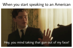 Mind, Gun, and Face: When you start speaking to an Americarn  Hey, you mind taking that gun out of my face?