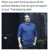 Funny, Thanksgiving, and Debate: When you start thinking about all the  political debates that are gonna happen  at your Thanksgiving table It's not even worth the stress I'm just gonna stay home and order a pizza lol (@sadmichaeljordan)