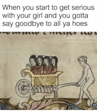 Hoes, Memes, and Girl: When you start to get serious  with your girl and you gotta  say goodbye to all ya hoes  CLASSICALART MEMES  face