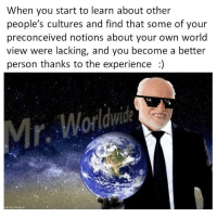 """True, Http, and World: When you start to learn about other  people's cultures and find that some of your  preconceived notions about your own world  view were lacking, and you become a better  person thanks to the experience ) <p>The true Mr. Worldwide :) via /r/wholesomememes <a href=""""http://ift.tt/2tzTN0T"""">http://ift.tt/2tzTN0T</a></p>"""