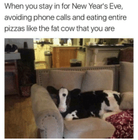 Latinos, Memes, and Pizza: When you stay in for New Year's Eve,  avoiding phone calls and eating entire  pizzas like the fat cow that you are Lmaoo 🐄🐄🐄😂😂😂 🔥 Follow Us 👉 @latinoswithattitude 🔥 latinosbelike latinasbelike latinoproblems mexicansbelike mexican mexicanproblems hispanicsbelike hispanic hispanicproblems latina latinas latino latinos hispanicsbelike