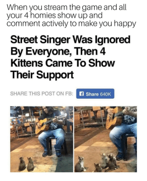 On Fb: When you stream the game and all  your 4 homies show up and  comment actively to make you happy  Street Singer Was Ignored  By Everyone, Then 4  Kittens Came To Show  Their Support  SHARE THIS POST ON FB:  fShare 640K