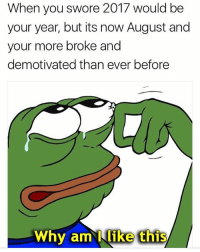Memes, 🤖, and Aml: When you swore 2017 would be  your year, but its now August and  your more broke and  demotivated than ever before  Why aml like this This is me 😭😂