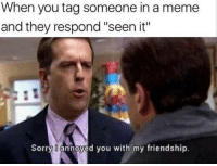 "Meme, Sorry, and Tag Someone: When you tag someone in a meme  and they respond ""seen it""  Sorry annoyed you with my friendship."