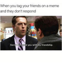 Friends, Meme, and Memes: When you tag your friends on a meme  and they don't respond  Sorry annoyed you with my friendship. Never again (@memes)