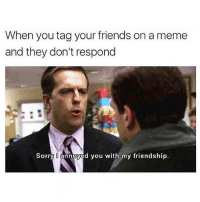 Friends, Meme, and Sorry: When you tag your friends on a meme  and they don't respond  Sorry annoyed you with my friendship. Can you use this caption? ⚠️WARNING⚠️ don't follow @menshumor if you're easily offended