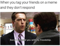 My Friendship: When you tag your friends on a meme  and they don't respond  Sorry l annoyed you with my friendship.