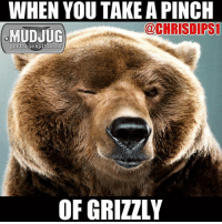 Memes, 🤖, and Portable: WHEN YOU TAKE A PINCH  @CHRISDIPS1  MUDJUG  portable spittoons  OF GRIZZLY The face you make 😂 MudJug grizzly dip30 gumgasher photo by @chrisdips1
