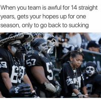 Raiders fans... (Credit: funniestnflmemes): When you team is awful for 14 straight  years, gets your hopes up for one  season, only to go back to sucking Raiders fans... (Credit: funniestnflmemes)