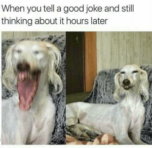 Good, Laughter, and You: When you tell a good joke and still  thinking about it hours later Full of laughter.