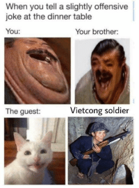 Table, Brother, and Soldier: When you tell a slightly offensive  joke at the dinner table  You  Your brother:  The guest:  Vietcong soldier Vietcong