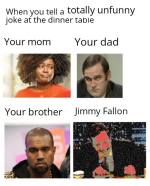 Dad, Dank, and Jimmy Fallon: When you tell a totally unfunny  ioke at the dinner table  Your momYour dad  Your brother  Jimmy Fallon Why are you laughing? by n1GG99 MORE MEMES