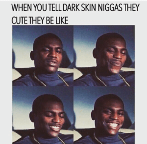 Be Like, Tumblr, and Blog: WHEN YOU TELL DARK SKIN NIGGAS THEY  CUTETHEY BE LIKE dipped-in-nutellaa:  Me