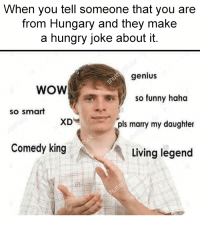 me🇭🇺irl: When you tell someone that you are  from Hungary and they make  a hungry joke about it.  genius  WOW  so funny haha  so smart  XD  pls marry my daughter  Comedy king  Living legend me🇭🇺irl
