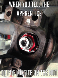 Mechanic, The Apprentice, and Apprentice: WHEN YOU TELL THE  APPRENTICE Probably should have called it thread locker...
