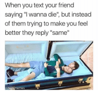 """i wanna die: When you text your friend  saying """"I wanna die"""", but instead  of them trying to make you feel  better they reply """"same""""  shamememes"""