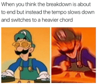 Memes, 🤖, and Down: When you think the breakdown is about  to end but instead the tempo slows down  and switches to a heavier chord