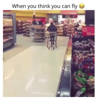 Fail, Funny, and Physical: When you think you can fly Shopping Cart < Dude 70lbs < 150 lbs Don't fail Physics 🙄