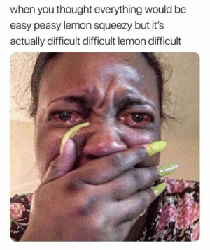 Funny, Thought, and Lemon: when you thought everything would be  easy peasy lemon squeezy but it's  actually difficult difficult lemon difficult