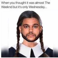 When you thought it was almost The  Weeknd but it's only Wednesday. itswednesday wednesday wednesdays tgiw fbw tbw wcw womancrushwednesday creepygirl christinaricci wednesdayaddams theaddamsfamily 😈 petty mood puertoricansbelike bitchesbelike statusquotes belike just when you thought it's was almost theweeknd but itsonlywednesday 😩👆🏻😂🔫 ttyl 😴 off this ✌🏻️