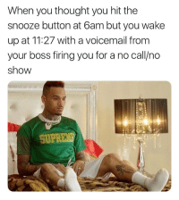 I fucking hate when I do this 😂😂😂😭😭😭😭: When you thought you hit the  snooze button at 6am but you wake  up at 11:27 with a voicemail from  your boss firing you for a no call/no  show I fucking hate when I do this 😂😂😂😭😭😭😭