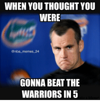Warriors stay alive, beating the Thunder in Game 5. Will the Warriors win Game 6? nbamemes nba_memes_24: WHEN YOU THOUGHT YOU  WERE  @nba memes 24  GONNA BEAT THE  WARRIORS IN 5 Warriors stay alive, beating the Thunder in Game 5. Will the Warriors win Game 6? nbamemes nba_memes_24