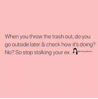 Stalking, Trash, and Girl Memes: When you throw the trash out, do you  go outside later & check how it's doing?  No? So stop stalking your ex.  @fuckboysfailures