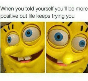 Life, Memes, and Today: When you told yourself you'll be more  positive but life keeps trying you 33 Of Today's Freshest Pics And Memes