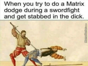 Sucks when it happens!: When you try to do a Matrix  dodge during a swordfight  and get stabbed in the dick. Sucks when it happens!