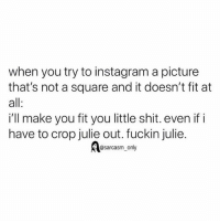 Funny, Instagram, and Memes: when you try to instagram a picture  that's not a square and it doesn't fit at  all  i'll make you fit you little shit. even if i  have to crop julie out. fuckin julie  @sarcasm_only SarcasmOnly