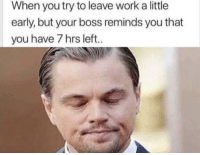 Work, MeIRL, and Boss: When you try to leave work a little  early, but your boss reminds you that  you have 7 hrs left.. meirl
