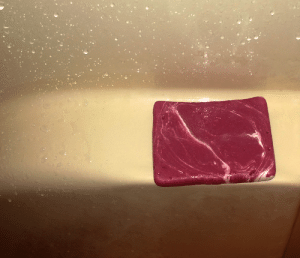 When you try to make peppermint swirl soap and it comes out looking like raw meat.: When you try to make peppermint swirl soap and it comes out looking like raw meat.