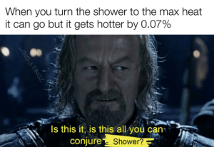 Shower, Heat, and Lord of the Rings: When you turn the shower to the max heat  it can go but it gets hotter by 0.07%  Is this it, is this all  you can  conjure  Shower?  u/BIG-J-TINGZ So it doesn't begin!