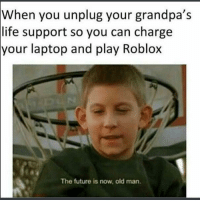 "Dank, Future, and Life: When you unplug your grandpa's  life support so you can charge  your laptop and play Roblox  The future is now, old man. <p>🅱️oblox via /r/dank_meme <a href=""http://ift.tt/2uLbzU9"">http://ift.tt/2uLbzU9</a></p>"