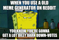 Meme, Reddit, and Old: WHEN YOU USE A OLD  MEME GENERATOR ON REDDIT  YOUKNOW YOURE GONNA  GET A LOTDILLY DARN DOWN-VOTES  imgflip.com