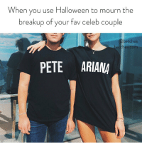 Love might be dead but our couples costumes aren't. Link in bio or betches.co-halloween: When you use Halloween to mourn the  breakup of your fav celeb couple  betches  betches.com  PETE ARIANA Love might be dead but our couples costumes aren't. Link in bio or betches.co-halloween