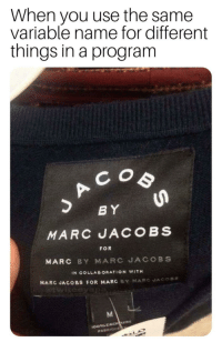 Marc Jacobs, Mean, and Name: When you use the same  variable name for different  things in a program  B Y  MARC UACOBS  FOR  MARC BY MARC JACOBS  IN COLLABORATION WITH  MARC JACOBS FOR MARC BY NAR  C JAC。 Is that supposed to mean something?