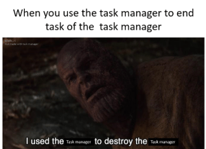 Reddit, Jelly, and You: When you use the task manager to end  task of the task manager  u/jelly_ni  Not made with task manager  I used the  to destroy the  Task manager  Task manager Task Manager