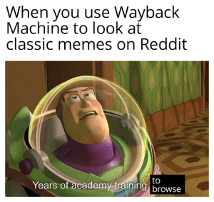 I miss the good ol' days: When you use Wayback  Machine to look at  classic memes on Reddit  to  Years of academy training browse  SPACE I miss the good ol' days