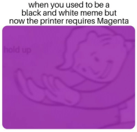Meme, Black, and Black and White: when you used to be a  black and white meme but  now the printer requires Magenta