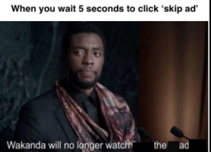 Click, Watch, and Will: When you wait 5 seconds to click 'skip ad'  Wakanda will no longer watch the ad Yeeet