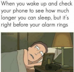 Phone, Alarm, and Sleep: When you wake up and check  your phone to see how much  longer you can sleep, but it's  right before your alarm rings  rickandmeme Every.. f**king.. morning!!
