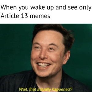 Dank, Memes, and Target: When you wake up and see only  Article 13 memes  Wait, that actually happened? Rip Europe (and me) by Lapraniteon MORE MEMES