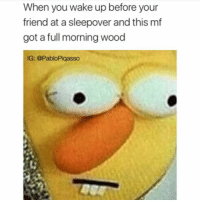 Memes, Sleepover, and 🤖: When you wake up before your  friend at a sleepover and this mf  got a full morning wood  IG: @PabloPiqasso Ah shiet a nigga done fucked up, let's try again