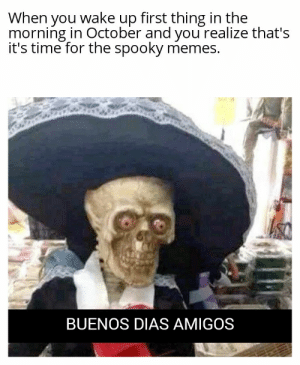 It's time, my amigos: When you wake up first thing in the  morning in October and you realize that's  it's time for the spooky memes.  BUENOS DIAS AMIGOS It's time, my amigos