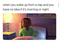 Funny, Idea, and Wake: when you wake up from a nap and you  have no idea if it's morning or night