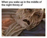 Af, Funny, and Lol: When you wake up in the middle of  the night thirsty af I always doo lol