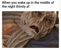 Af, Lol, and Memes: When you wake up in the middle of  the night thirsty af Haha lol