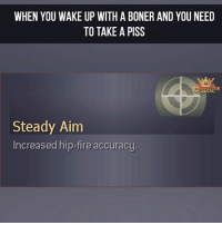 Bonere: WHEN YOU WAKE UP WITH A BONER AND YOU NEED  TO TAKE A PISS  GAMTG  Steady Aim  Increased hip-fire accuracy